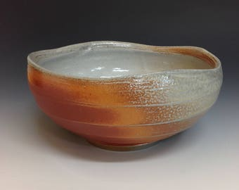 Serving Bowl with Undulating Rim. Great Color. Soda Glazed Stoneware Pottery