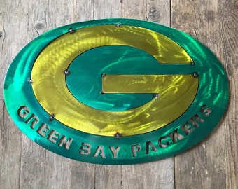 Steel Green Bay sign with translucent paint