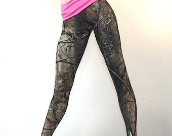 Camo Pants Camouflage Yoga Fitness Legging Fold Over Low/High Rise SXYfitness MADE IN USA