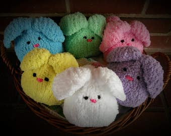Knitted Bunny Snugglers-Chenille yarn- Assorted colors
