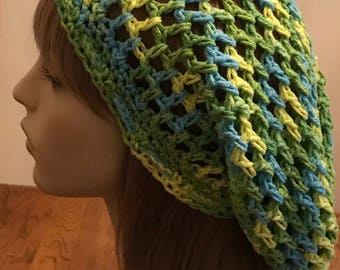 Cotton Open Stitch Dread Tam in Blue, Yellow and Green