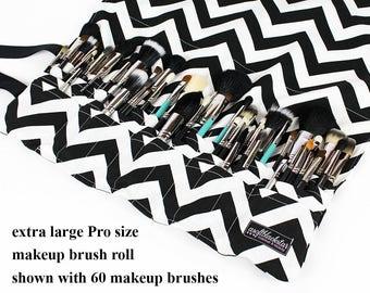 Extra Large Custom Makeup Brush Roll Holder, Professional Size