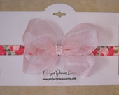 Light Pink Organza and Pearls Hair Bow on Soft Elastic Rose Print Headband for Newborn, Baby, Toddler, or Girls