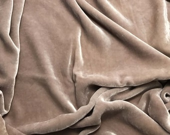 Taupe HAND DYED Silk Velvet Fabric fat 1/4