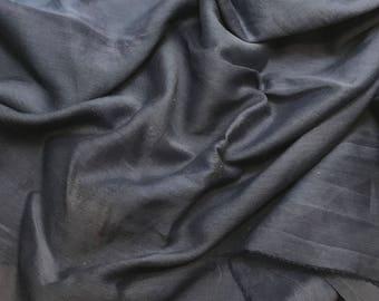 Hand Dyed DARK DENIM BLUE Silk and Cotton Batiste Fabric - 1 Yard