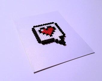 8-Bit Love Note - Perler Fuse Bead Greeting Card - Birthday - Love Note - Legend of Zelda - Mario - Gamer - Geekery - Retro