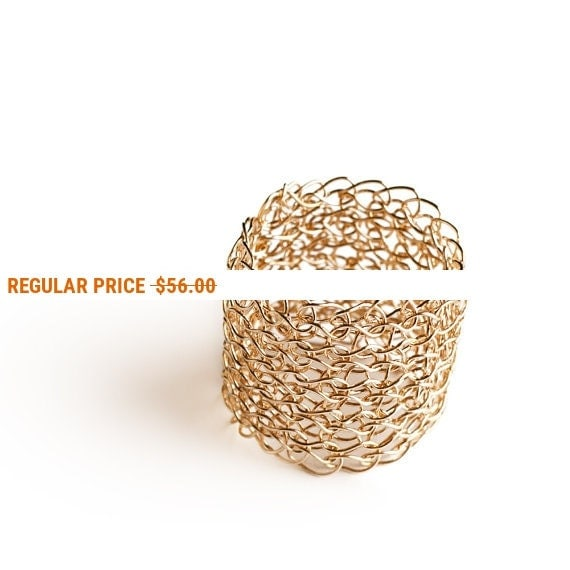 Holiday Sale - Wire crochet gold ring handmade elegant ring knitted jewelry wide band unique jewellery metal custom ring