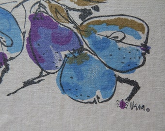 Vera Neumann Tablecloth 50 x 45 with Blue and Purple Plums