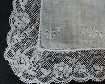 Vintage French Lace White Wedding Hankie with Pale Lavender Embroidery & Lace, unused 1950s with tags