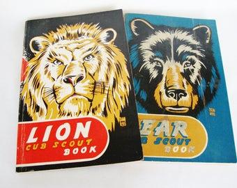 vintage boy scouts cubs scouting book 1950 lion  bear