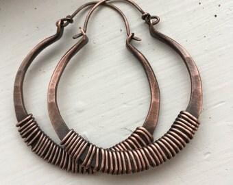 Copper Hoop Earrings Wire Wrap Hoops Copper Hoops Big Earrings Rustic Jewelry DanielleRoseBean Large Hoop Earrings Large Hoops