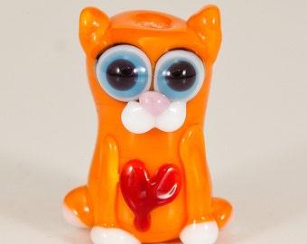 Valentine Orange Tabby Cat Lampwork Bead
