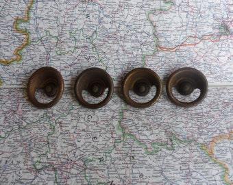 SALE! 4 large mid century round metal knobs