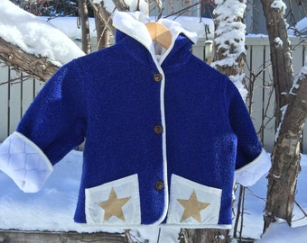 Kids Fleece Hooded Star Coat Jacket Royal Blue Polartec Polarfleece Custom Jacket Fully Lined On Sale!