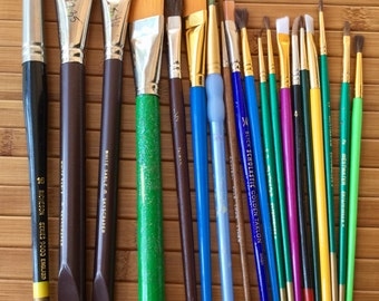 Paint Brushes Supplies Painting - Excellent Condition Some Never Used 23 brushes