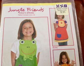 Childs Apron from Jungle,Friends, Frog, Lion and Monkey Aprons, Uncut, Size 3-8
