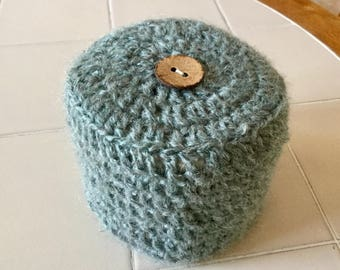 Toilet Paper Cover Crochet with Button Accent Light Dusty Green Yarn
