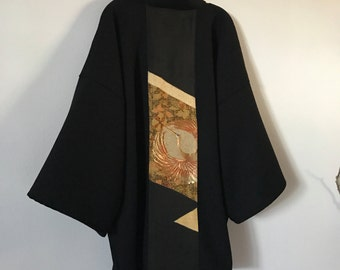 Collectable black crepe wool haori inspired jacket with dancing crane gold kimono silk panel/ free size /ready to wear/ ethical clothing