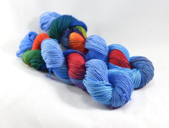 Kansas - Postcard - Rainbow Yarn - Rainbow Sock Yarn - Blue Sock Yarn with Rainbows - Merino/Nylon Blend, Fingering Weight