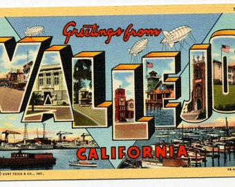 Large Letter Postcard - Vallejo, California - 1940's - Linen
