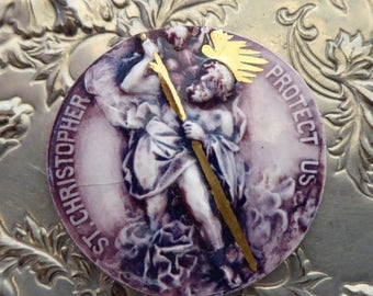 ON SALE RARE Saint Christopher Porcelain Medallion, Purple Glazed Plaque, Protector Of Travelers, Adventurers, Globetrotters, Religious Toke