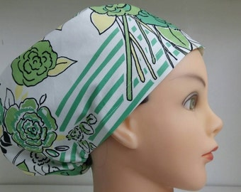 Womens Hybrid Style Surgical Scrub Hat Chemo Chef Cap Stanley Green Yellow Floral