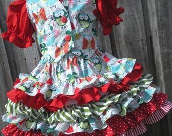 ON SALE Ready to Ship Custom Boutique 3 Piece Vest Set Season to Hoot Owls Christmas  Girl 3 4 RTS