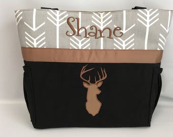 ARROW  ...   DEER  Silhouette  .. DIAPER Bag .. Applique   ... Bottle Pockets ... Personalized