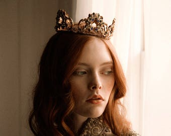 Royal jeweled tone wedding crown, bridal tiara - Monarch Crown no. 2217
