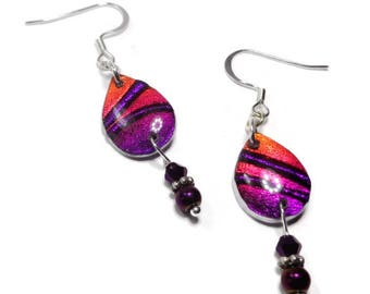 Purple Dangle Dichroic Earrings- polymer clay jewelry- Resin earrings- Crystal Earrings- Ready to Ship- Gifts for Her
