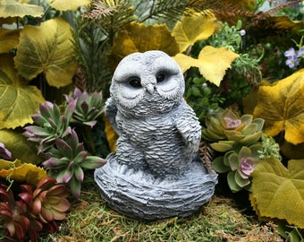 Concrete Owl Statue - READY TO SHIP Now - Large Baby Owlette In Nest - Outdoor Concrete Decor - Owl Totem Garden Art