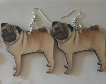 Pug, Pug earrings, Dog, Dog earrings, Pug jewelry, Handmade, MsFormaldehyde