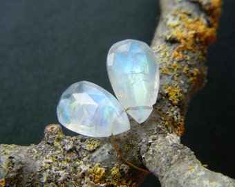 Rainbow Moonstone Faceted Drops - Pair - 8x14mm