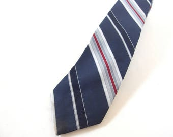 Vintage 1980's Wide Tie - Navy Blue, Burgundy and Silver Gray Striped Tie