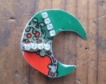 Holiday Sale Vintage Crescent Moon Tin Brooch, Upcycled Jewelry, Gifts under 15, Gifts for Her