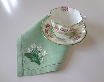 Vintage Luncheon Napkins 6 Hand Embroidered Serviettes Each Different White Flowers on Green Linen - EnglishPreserves