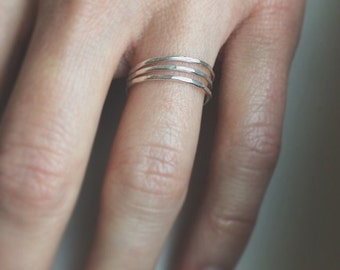 Sterling Hammered Stacking Ring SET - Ready to Ship