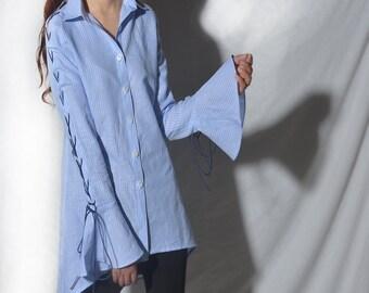 Game of throne - extravagant bell sleeve shirt / boho shoe string shirt / idea2lifestyle boho blouse (Y20171a)