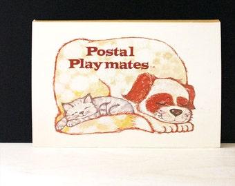 Postal Playmates. Vintage 1970s children's stationery set. Animals.
