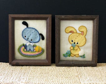 Nursery Animals. Vintage pair of 1970s crewel needlepoint pictures.