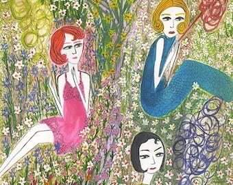 Filles de jardin.  Limited edition print by Vivienne Strauss.