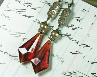 Vintage Amber, Rhinestone, Pearl and Oxidized Brass Earrings
