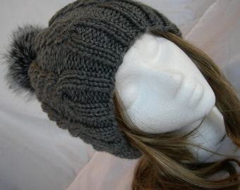 Gray Cable knitted hat soft merino slouch hat fur pompom