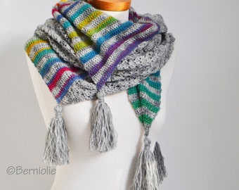 Crochet shawl, grey with rainbow colors, stripes, P519