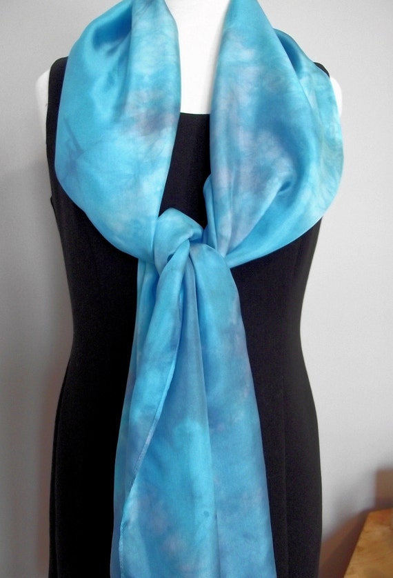 Hand Dyed Shibori Silk Scarf, Turquoise and Grey, Straight or Infinity Loop Scarf 14x72""