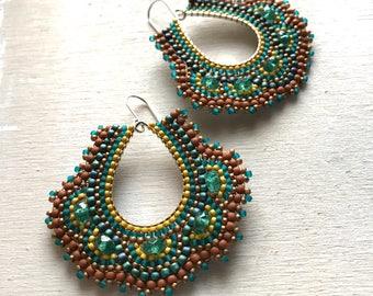 Earth Tone Beaded Earrings