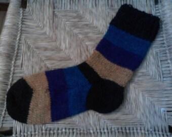 Hand Knit Alpaca Wool Socks Women,s  Large 8-10 Jewel Tones
