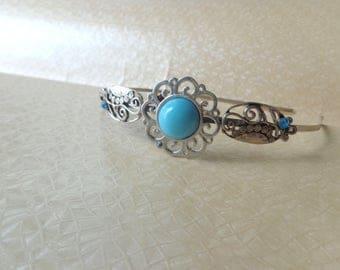 Silver turquoise aqua metal headband hair accessory, flower headband