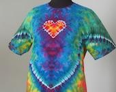 tie dye, large tee, heart with crest, ice dye, tye dye t shirt by GratefulDan, heady dyes