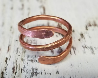 Copper Ring, hammered, elegant and unique, size 7 #27